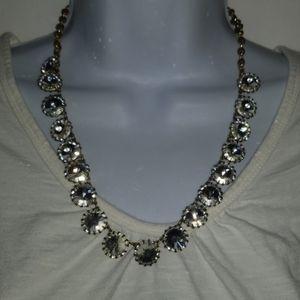 J Crew Signed Necklace Silver Tone Rhinestone